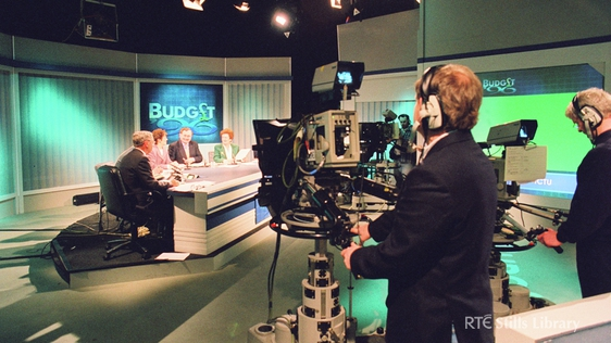 RTÉ Television's Studio 2, during live coverage of the 1996 budget on 23 January that year. © RTÉ Stills Library 2093/015