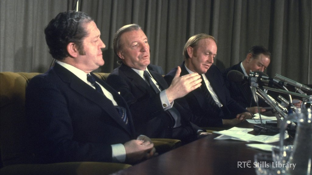 An Taoiseach Charles Haughey (centre) with Brian Lenihan (left) and Minister for Finance, Michael O'Kennedy, (right) in December 1980.  © RTÉ Stills Library 0715/006