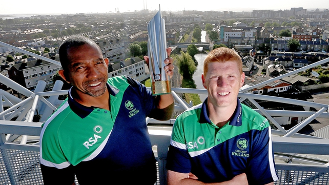 Ireland coach Phil Simmons and all-rounder Kevin O'Brien take the Croke Park stadium roof walk ahead of their departure to Sri Lanka for the T20 World Cup