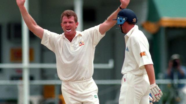 Craig McDermott taking Mike Atherton's wicket for Australia
