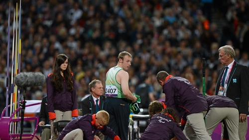Ray O'Dwyer after completing a throw at the Olympic Stadium