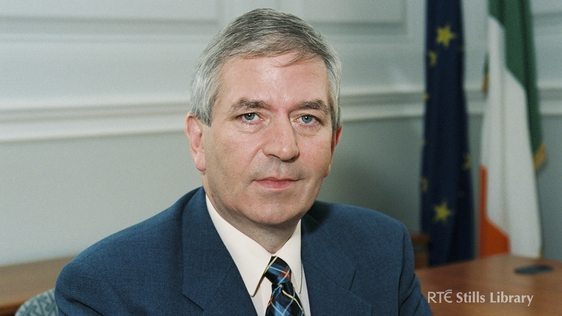 Fianna Fáil Minister for Finance Charlie McCreevy at his desk in August 1997.  © RTÉ Stills Library 2129/074