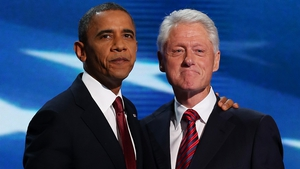 Barack Obama and Bill Clinton appeared on stage together on the second night of the convention