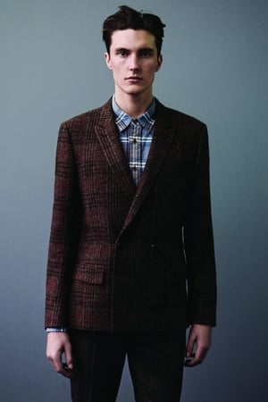 Topman harris tweed double-breasted blazer, available from topman.com