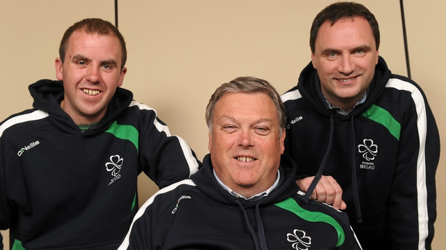 Irish paralympic sailors (l-r) Ian Costelloe, John Twomey and Anthony Hegarty