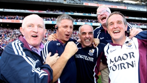 Galway manager Anthony Cunningham celebrates with his backroom staff after the win over the Rebels