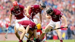 It was Cork who provided the opposition in the semi-final and Galway served up the same intensity as the Leinster final as Cork's Pa Cronin found out when he was surrounded by Fergal Moore, Johnny Coen, David Collins and Kevin Hynes
