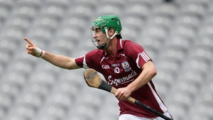 David Burke celebrates scoring one of Galway's goals in their emphatic 2-21 to 2-11 success