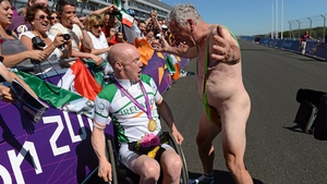 Double Paralympic gold medal winner Mark Rohan is 'congratulated' by his manager Gerry Begs