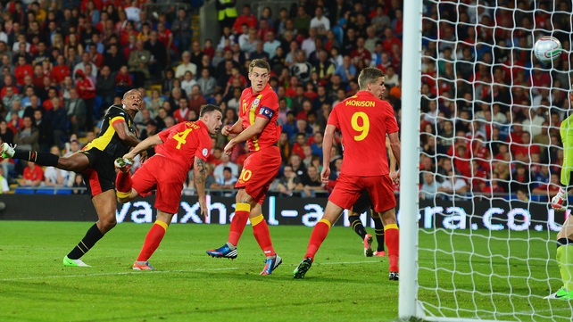 Vincent Kompany gave Belgium a first-half lead in Cardiff
