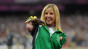 Catherine O'Neill took silver in the F51/52/53 discus, throwing 5.66m