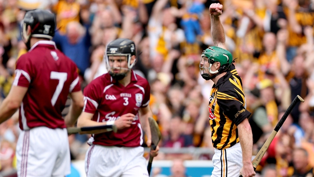 Henry Shefflin celebrates scoring a point