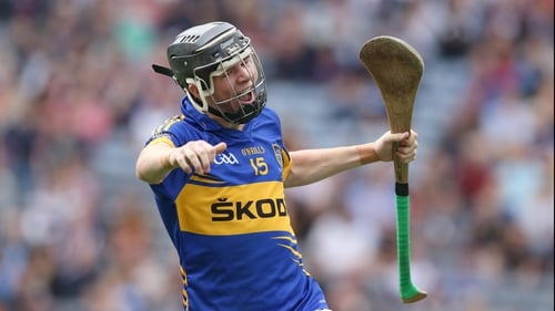 Tipperary's Mark McCarthy celebrates scoring a goal in the minor game