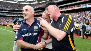 Galway manager Anthony Cunningham and Kilkenny boss Brian Cody exchange views after the final whistle