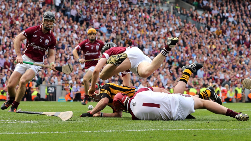 Eoin Larkin is fouled as Kilkenny are awarded a late penalty