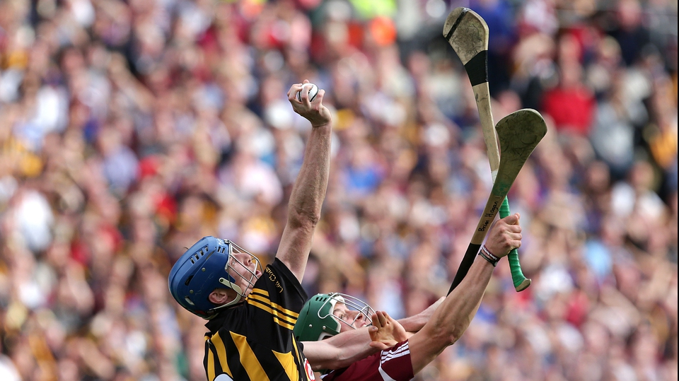 Galway's Niall Burke competes with Brian Hogan of Kilkenny for a high ball