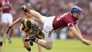 Galway's Damien Hayes is upended