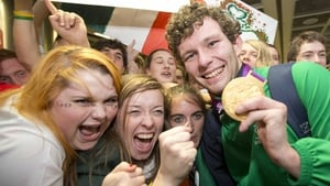 Gold medal swimmer Darragh McDonald with some fans.