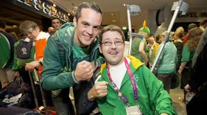 Olympic boxer Darren O'Neill with Boccia player Padraig Moran.