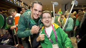 Olympic boxer Darren O'Neill with Boccia player Padraig Moran.
