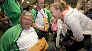 Paralympic sailor John Twomey shares a joke with Olympic sailor Annalise Murphy.