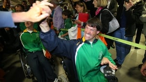 Gabriel Shelly, one of Ireland's most experienced paralympians, is warmly welcomed home.