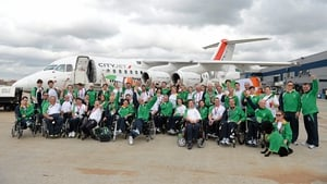 Team Ireland athletes on the runway prior to departure from London.
