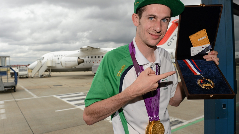 Michael McKillop with his two gold medals and Whang Youn Dai Achievement award.