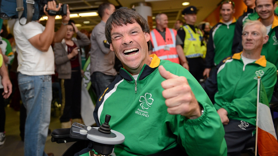 Gay Shelly, Boccia, from Kilkenny, who carried the flag in the closing ceremony.