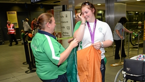 Orla Barry, who won a bronze medal in the women's discus throw F57/58, with Maria Furlong.
