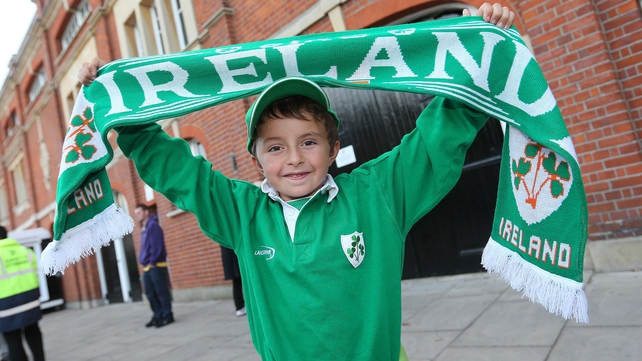 Fan Stefan McKevitt is ready to cheer on the Republic in their Craven Cottage tie with Oman
