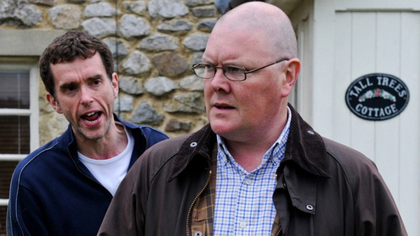 Mark Charnock and Dominic Brunt as Marlon and Paddy in Emmerdale