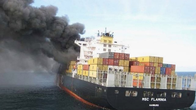 The containers fell from a burning chemical German cargo vessel MSC Flaminia on 14 July