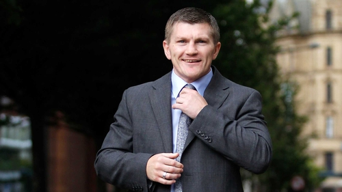 Ricky Hatton after today's press conference in Manchester