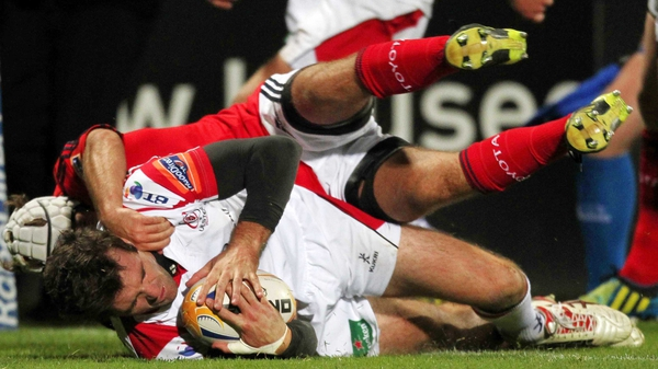 Jared Payne crosses the whitewash for Ulster