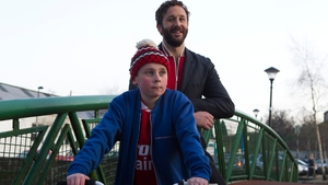 O'Dowd with co-star David Rawle - Back filming in Boyle
