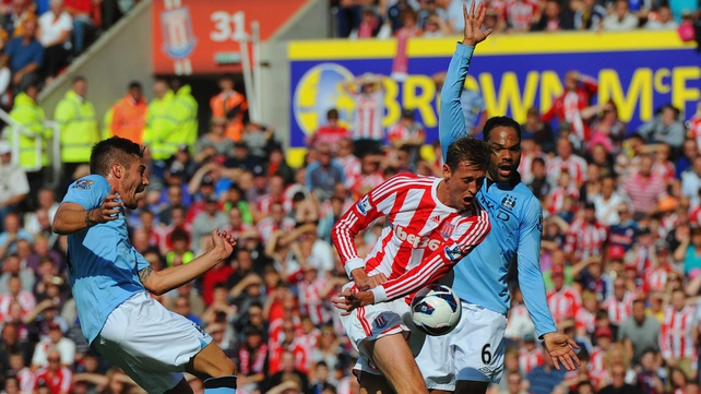 Manchester City appealed for handball for Peter Crouch's goal