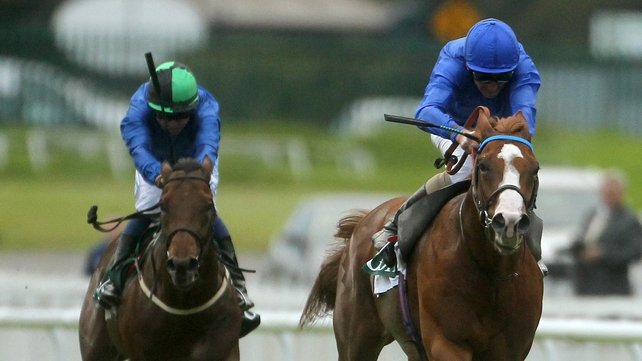 Dawn Approach and Kevin Manning (right) secured victory in the Vincent O'Brien Stakes