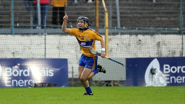 Cathal O'Connell celebrates hitting Clare's first goal of the game in Thurles