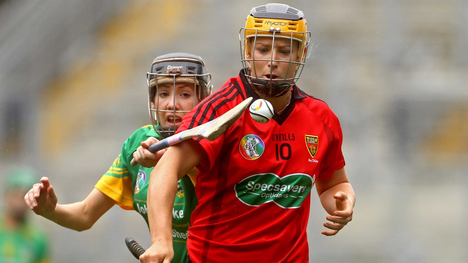 Down's Catherine McGourty (r) and Aine Keogh of Meath tussle for possession in the Junior final