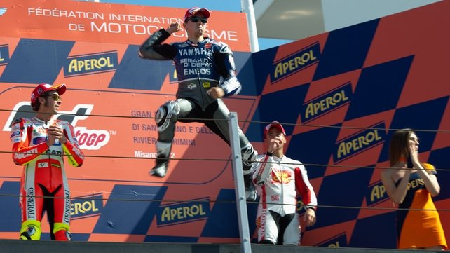 Jorge Lorenzo celebrates his victory in San Marino