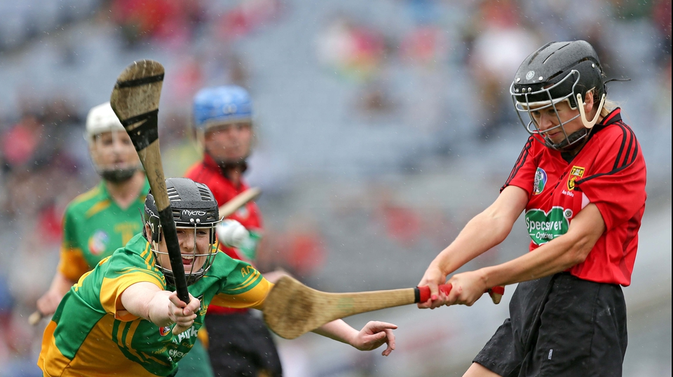 Meath's Sinead Hackett attempts to block down Grainne O'Higgins
