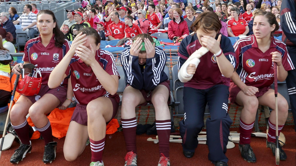 The Galway substitute bench reacts as a late penalty is awarded to Derry