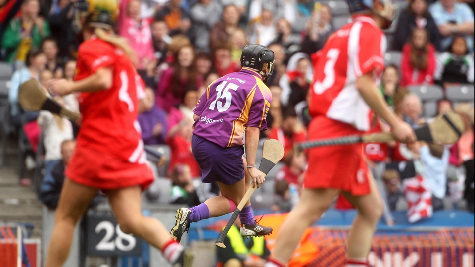 Wexford's Ursula Jacob celebrates after scoring their third goal of the game