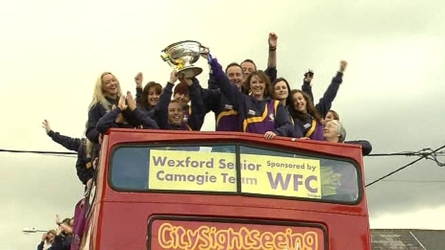 The victorious Wexford camogie team hold the O'Duffy Cup aloft in Gorey
