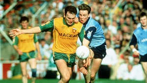 Donegal captain Anthony Molloy attempts to lose Paul Bealin