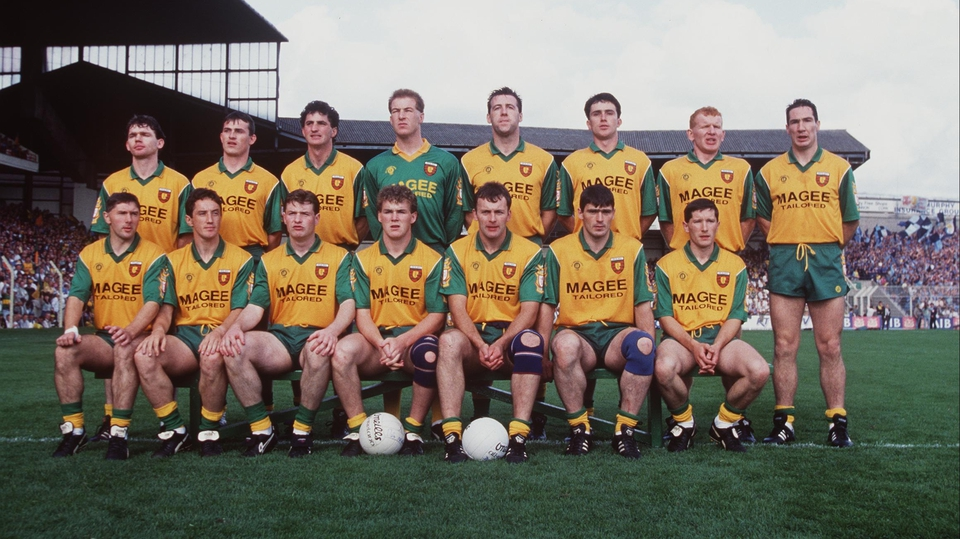 The Donegal side poses for a team photo before their All-Ireland final against Dublin