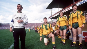 Donegal manager Brian McEniff and the rest of the bench wait anticipate the final whistle