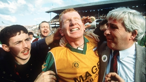 Corner-forward Declan Bonner celebrates with fans after Donegal's 0-18 to 0-14 victory