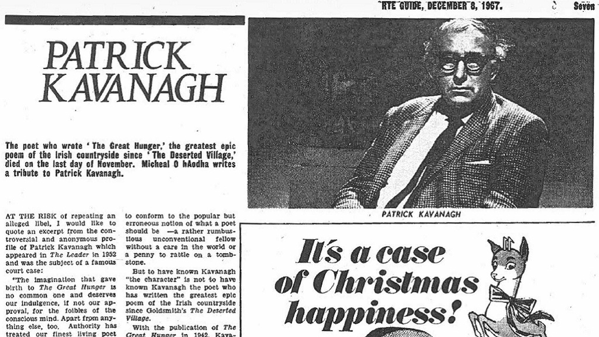 RTÉ Guide, 8 December, 1967, page 7. A Tribute to Patrick Kavanagh.